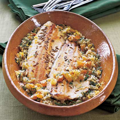 Fennel-Crusted Trout with Lemon-Ginger Vinaigrette