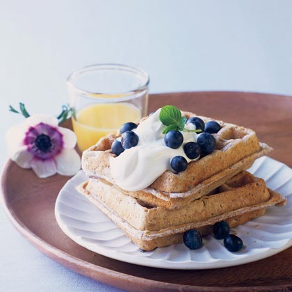 Blue Corn Waffles with Lavender Cream and Fresh Blueberries by Sunset Magazine