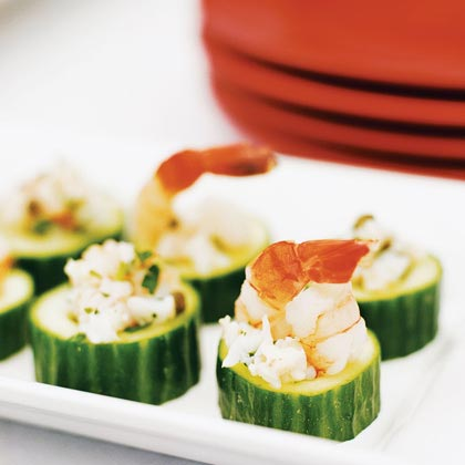 Mediterranean Shrimp Salad in Cucumber Cups