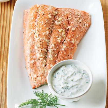 Roasted Salmon with Dill-Yogurt Sauce