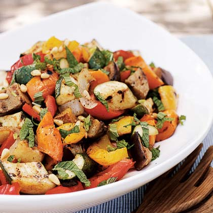 Grilled Eggplant and Pepper Salad