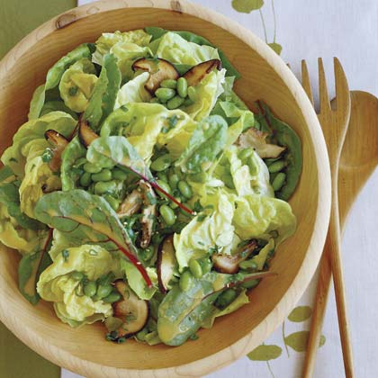 Shiitake and Edamame Salad with White Miso Vinaigrette