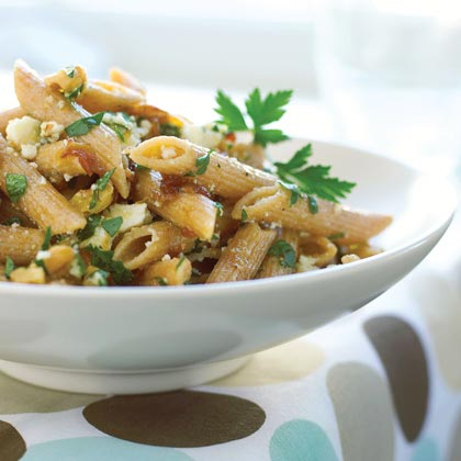 Whole-grain Penne with Walnuts, Caramelized Onions, and Ricotta Salata