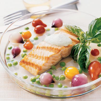Grilled Salmon in Tomato Water