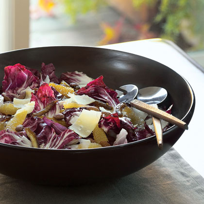 Radicchio Salad with Citrus, Dates, Almonds, and Parmesan Cheese