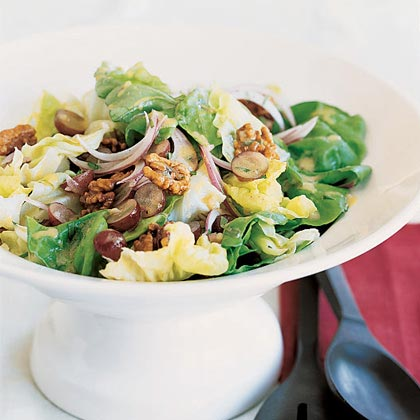 Butter Lettuce Salad with Walnuts and Grapes