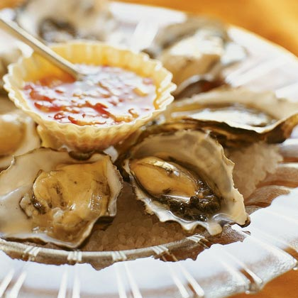 Oysters on the Half-Shell with Tangerine-Chili Mignonette
