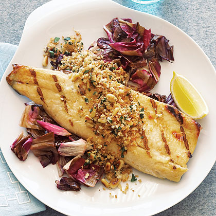 Grilled Trout Fillets Crunchy Pine Nut Lemon Topping Recipe Sunset Magazine