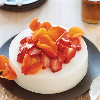 Yogurt Honey Jelly with Strawberries and Roses