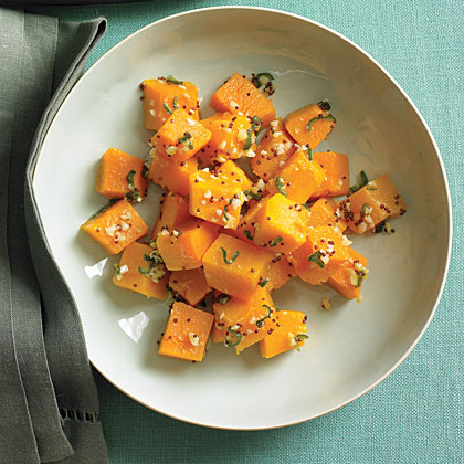 Butternut Squash with Green Chile and Mustard Seeds