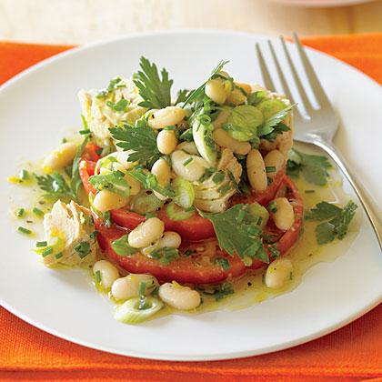 """Tomato """"Bruschetta"""" with Tuna and Cannellini Salad"""