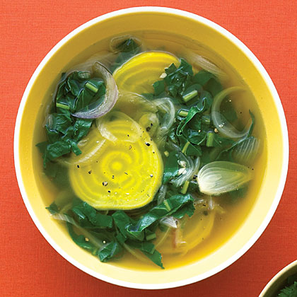 Golden Beet and Beet Greens Soup