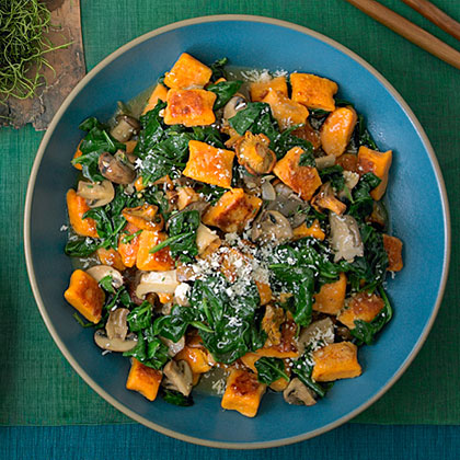 Sweet-Potato Gnocchi with Mushrooms and Spinach