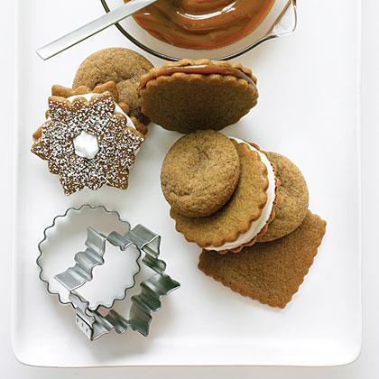 Lemon Meringue-filled Gingersnap Snowflake Cookies