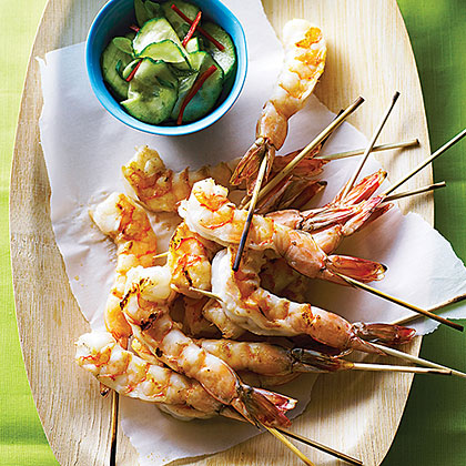 Sesame Shrimp with Cucumber-Soy Salad
