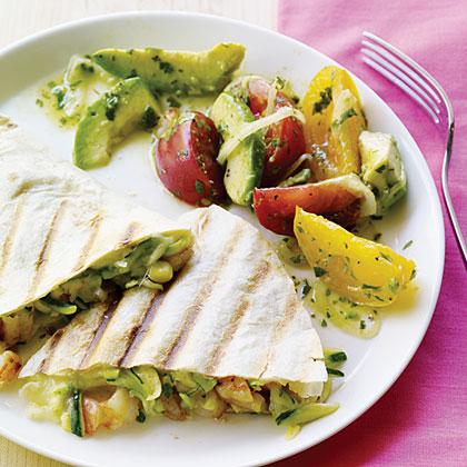 Surf and Garden Quesadillas with Avocado Salad
