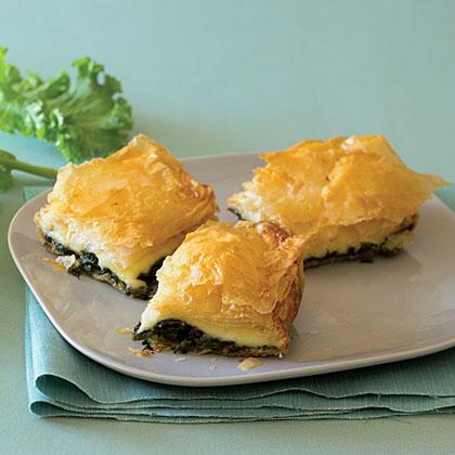 Mustard Green and Fontina Filo Pie