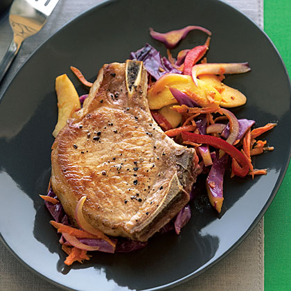 Pork Chops with Warm Cabbage Slaw