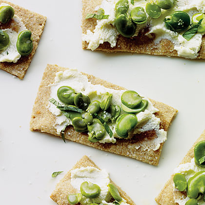 su-Favas and Ricotta on Buttermilk Crackers