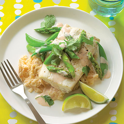 su-Halibut Parchment Packets with Coconut-Almond Rice