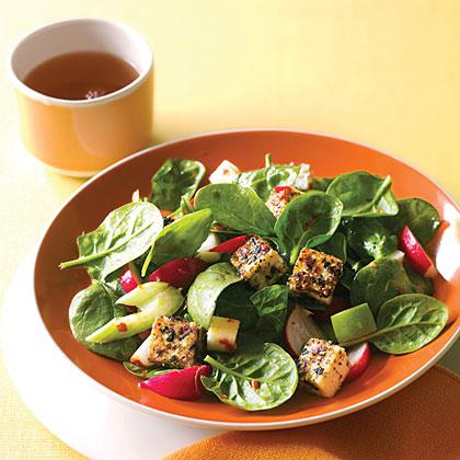 su-Spinach Dinner Salad with Sesame Tofu