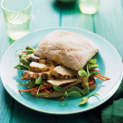 su-Grilled Chicken and Pea Shoot Charmoula Sandwiches