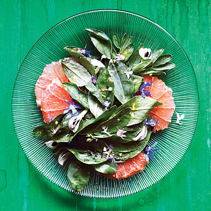 su-Fava Green, Grapefruit, and Flower Salad