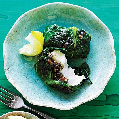 su-Grilled Halibut, Lettuce, and Tapenade Bundles