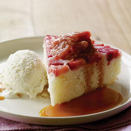 su-Rhubarb Upside-Down Cake with Rosemary Caramel Sauce