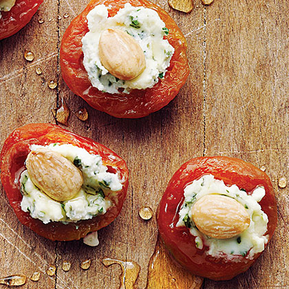 su-Apricots with Basil-Goat Cheese and Almonds