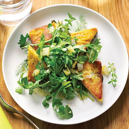 su-Chickpea Cake with Fava Leaves and Arugula Salad