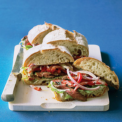 su-Hanger Steak Sandwiches with Chile-Lime Mayo