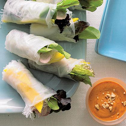 su-Fresh Spring Rolls with Pork, Mango, and Mesclun
