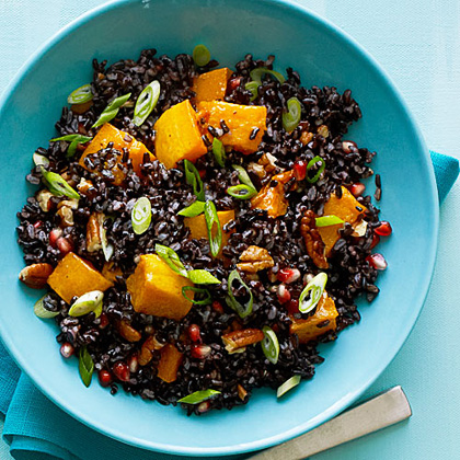 su-Black Rice Salad with Butternut Squash and Pomegranate Seeds
