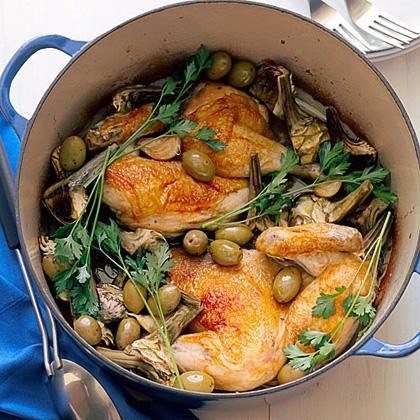 su-Chicken Halves with Artichokes and Garlic