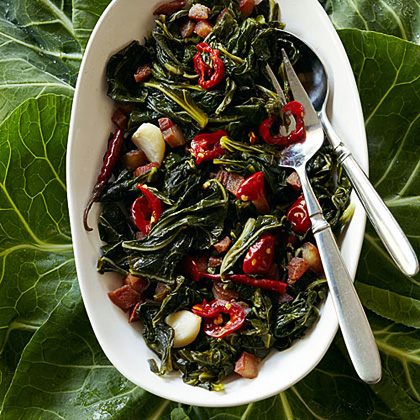 su-Collard Greens with Guanciale and Chiles