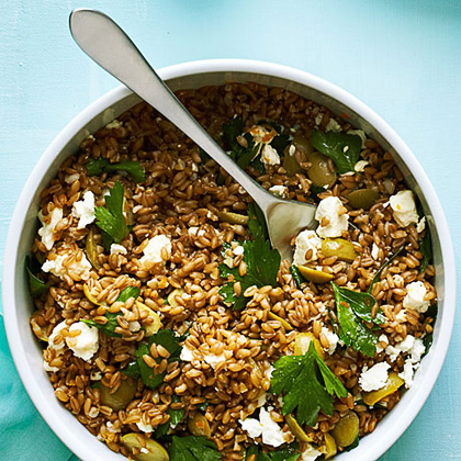 su-Farro, Green Olive, and Feta Salad