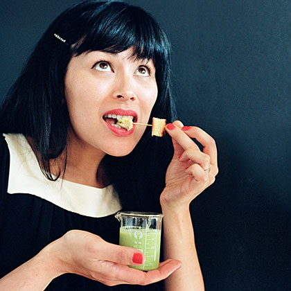 su-Broccoli Soup Shots with Cheddar Bites
