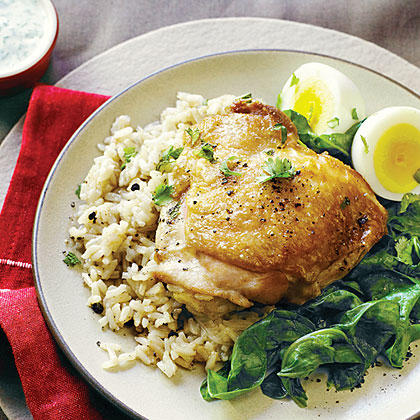 su-Spiced Chicken Pilaf with Eggs