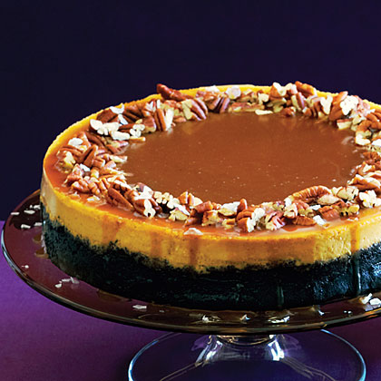 su-Pumpkin-Orange Cheesecake with Chocolate Crust and Salted Caramel