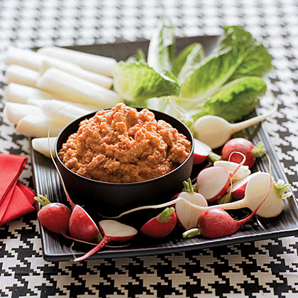 su-Red Pepper-Potato Dip with Crudités