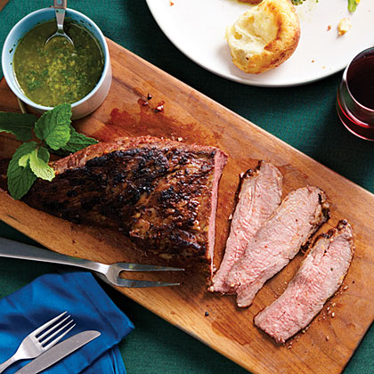 su-Garlic-Rubbed Tri-Tip with Mint Caper Salsa