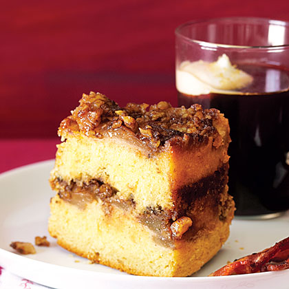 su-Upside-Down Sour Cream Coffee Cake with Sherry-Roasted Pears