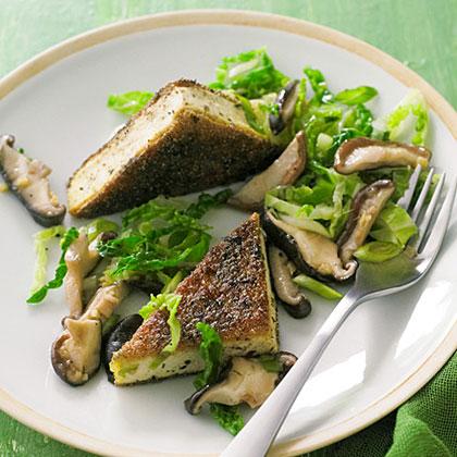 su-Crisp Genmaicha Tofu with Shiitakes and Savoy Cabbage