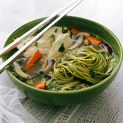 su-Jasmine Chicken Soup with Green Tea Soba