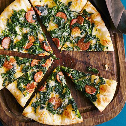 su-Kale, Chorizo, and Manchego Pizza