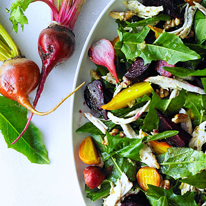 su-Chicken Salad with Roasted Beets and Dandelion Greens