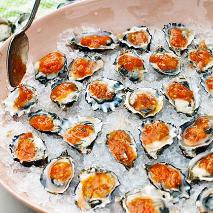 su-Oysters on the Half-Shell with Grilled Garden Salsa
