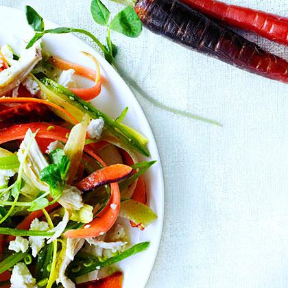 su-Rainbow Carrot, Pea Shoot, and Chicken Salad