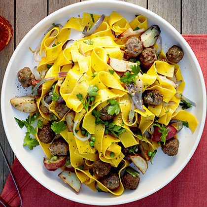 su-Roasted Vegetable and Mini Meatball Pappardelle